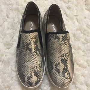 J Slides snakeprint slip on sneakers